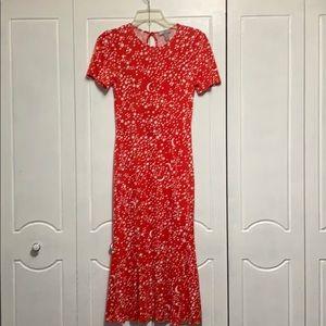 ASOS short sleeve print midi dress size 8
